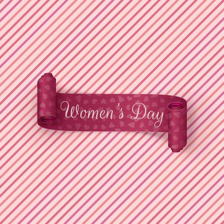 international: Pink scroll Ribbon. International Womens Day greeting Card Template. Vector Illustration