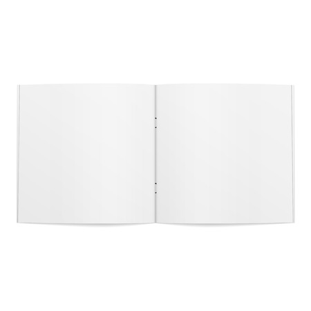 blank magazine: Blank opened square Magazine Template. Vector Illustration