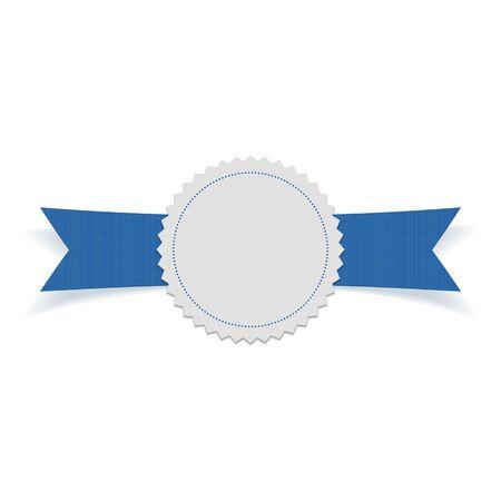 festive: Festive Label on blue Ribbon. Vector Illustration