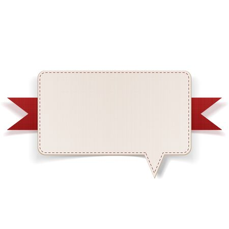 blank template: Greeting Message Bubble with red Ribbon. Vector Illustration Illustration
