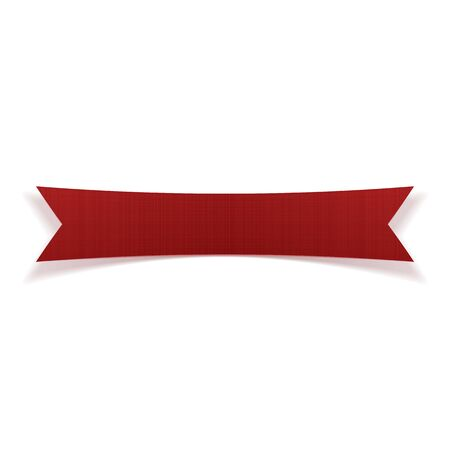 Red greeting textile Ribbon with Shadows. Vector Illustration