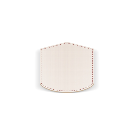 seams: Realistic paper white Emblem with Seams. Vector Illustration