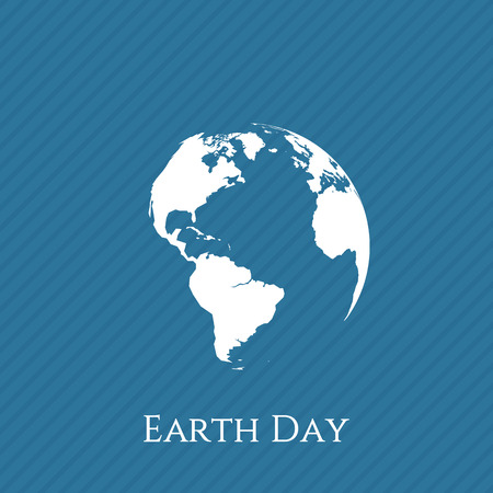 globe illustration: Earth Day blue and white Banner Template. Vector Illustration