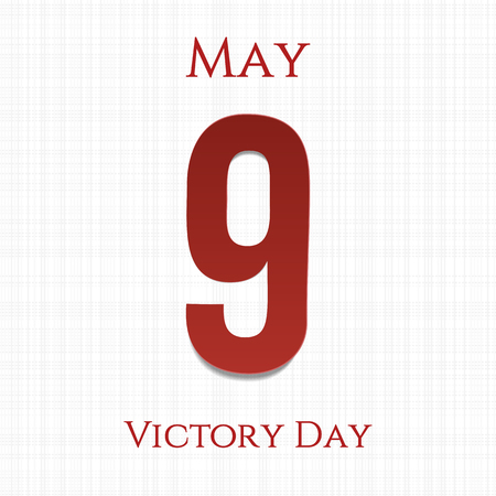 ninth: Victory Day big paper Number 9. Ninth May. Vector Illustration