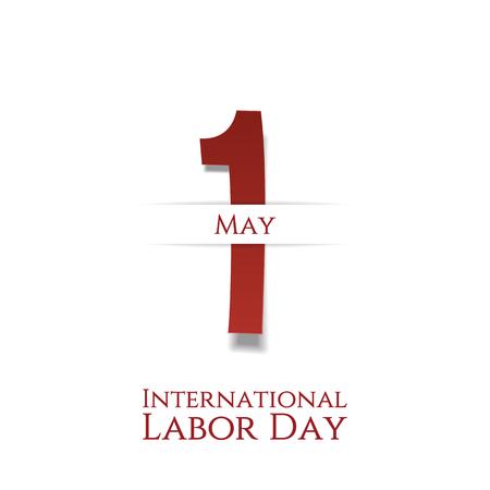 Día Internacional del Trabajo 1 ª tarjeta de mayo de festivo. Ilustración del vector Ilustración de vector