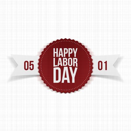 workers rights: International Labor Day realistic festive Label with Ribbon. Vector Illustration Illustration
