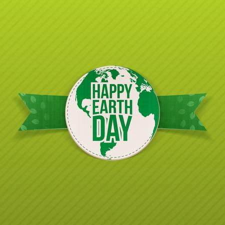 planeta tierra feliz: Feliz Día de la Tierra realista del emblema de la cinta verde Vectores