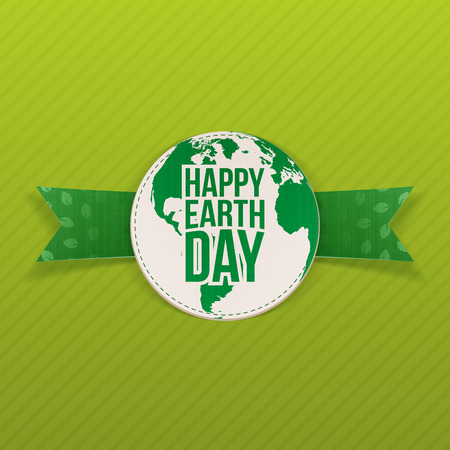 earth color: Happy Earth Day realistic Emblem on green Ribbon