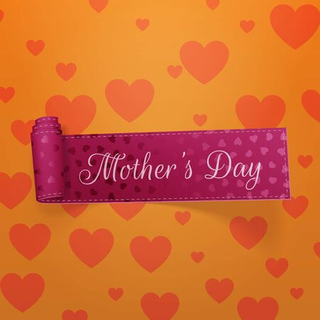 curved ribbon: Mothers Day realistic greeting curved Ribbon