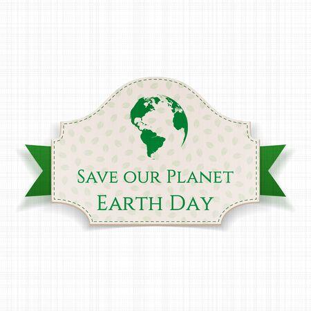 green ribbon: Earth Day festive Banner on green Ribbon. Vector Illustration Illustration