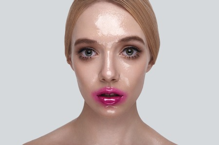wet lips: Surprised beauty Woman with wet Skin and pink Lips Stock Photo