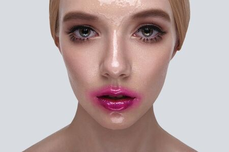 wet lips: Beauty female Model with wet Skin and pink Lips Stock Photo