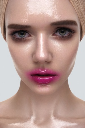 wet lips: Beauty Portrait of female Model with wet Skin and pink Lips Stock Photo
