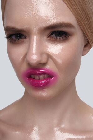 wet lips: Evil beauty young Woman with wet perfect Skin and pink Lips