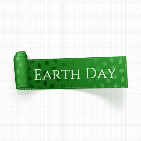 green ribbon: Earth Day Text on realistic curved green Ribbon. Vector Illustration Illustration