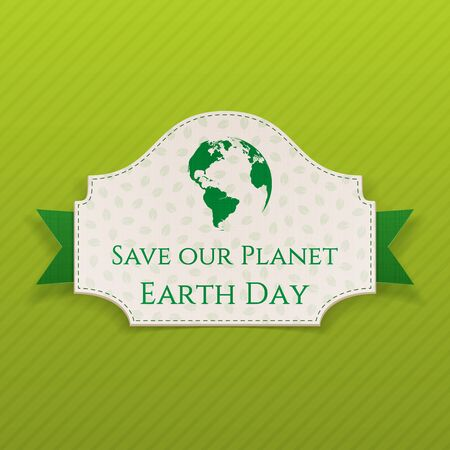 planeta tierra feliz: Texto Día de la Tierra en la tarjeta con la cinta verde. Ilustración del vector