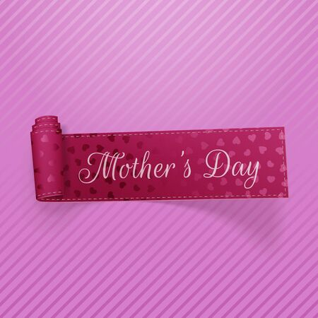 curved ribbon: Mothers Day Text on greeting curved Ribbon with Hearts Pattern. Vector Illustration
