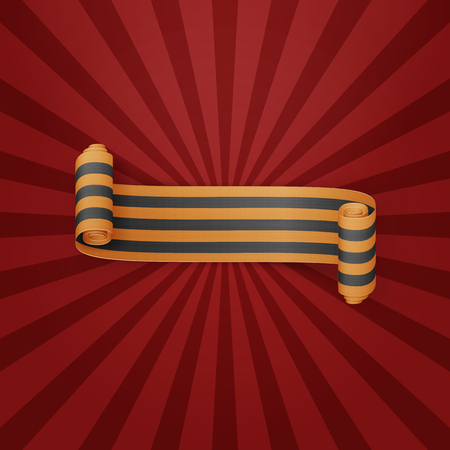 banner background: Black and golden textile scroll St. George Ribbon. Victory Day Object. Vector Illustration Illustration