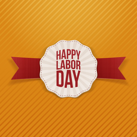 work worker workforce world: Happy Labor Day paper Banner with red festive Ribbon on striped orange Background. Vector Illustration