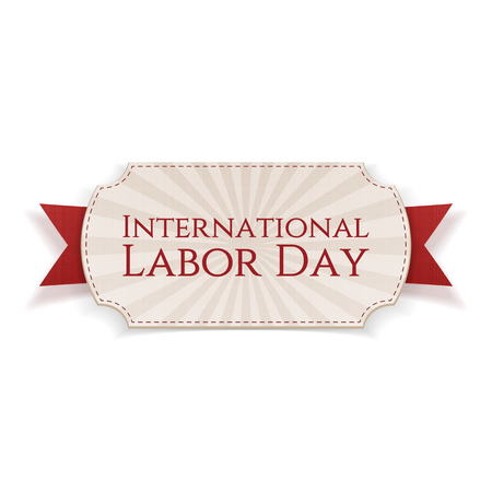 work worker workforce world: International Labor Day. Paper Banner on red festive textile Ribbon isolated on white Background. Vector Illustration Illustration
