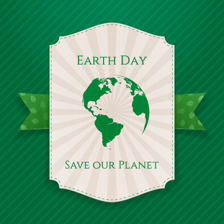 big leafs: Earth Day big paper Banner and festive green Ribbon with Leafs Pattern on green striped Background. Vector Illustration
