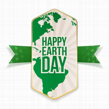 big leafs: Happy Earth Day big striped Banner and green festive Ribbon with Leafs Pattern on white textile Background. Vector Illustration