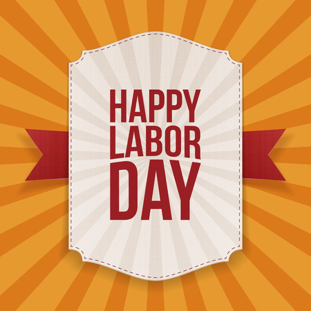 workers rights: Happy Labor Day big white Banner with red Ribbon on orange striped Background. Vector Illustration