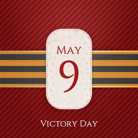 george: May 9 Victory Day white paper Banner with st. George Ribbon on red striped Background. Vector Illustration Illustration