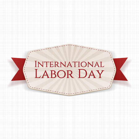work worker workforce world: International Labor Day striped Label with red Ribbon on white textile Background. Vector Illustration