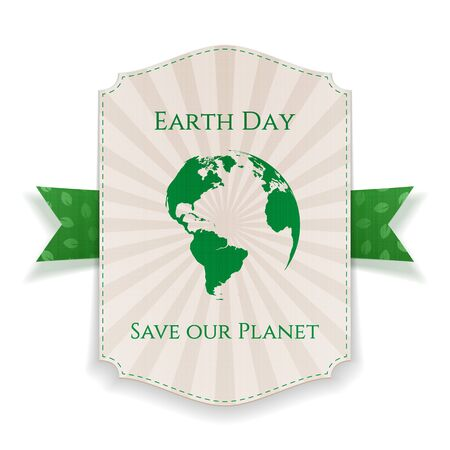 big leafs: Earth Day big realistic Holiday Banner Template and festive green Ribbon with Leafs Pattern isolated on white Background. Vector Illustration