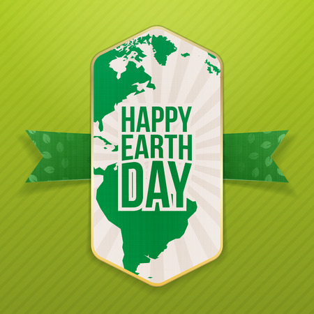 textile care: Happy Earth Day realistic Holiday Banner Template and festive Ribbon with Leafs Pattern on green striped Background. Vector Illustration