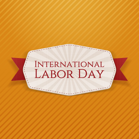 work worker workforce world: International Labor Day realistic Holiday Banner Template with red Ribbon on striped orange Background. Vector Illustration