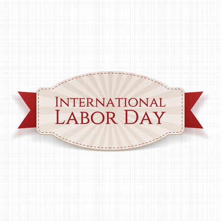 workers rights: International Labor Day Holiday realistic Label Template with red Ribbon on white textile Background. Vector Illustration
