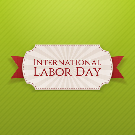 workers rights: International Labor Day Holiday white Tag with red festive textile Ribbon on green striped Background. Vector Illustration