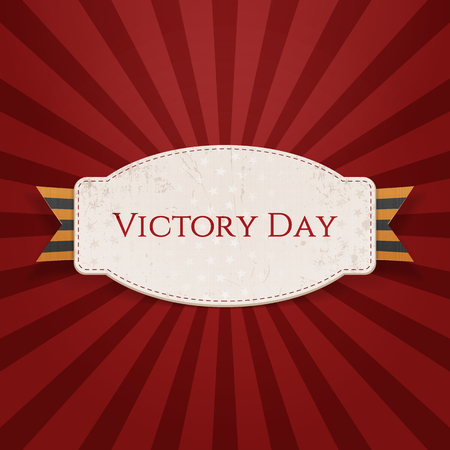 george: Victory Day. Realistic Holiday Banner Template with st. George Ribbon on red striped Background. Vector Illustration Illustration