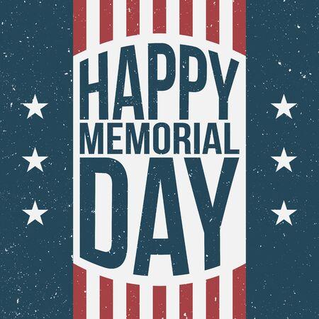 Fond rétro patriotique heureux Memorial Day. Illustration vectorielle