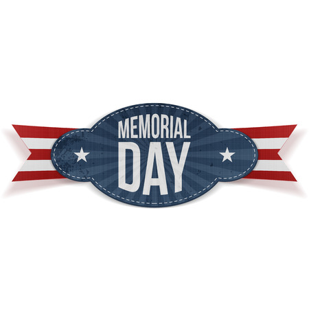 Memorial Day greeting Badge with Text and striped Ribbon isolated on white Background. Vector Illustration