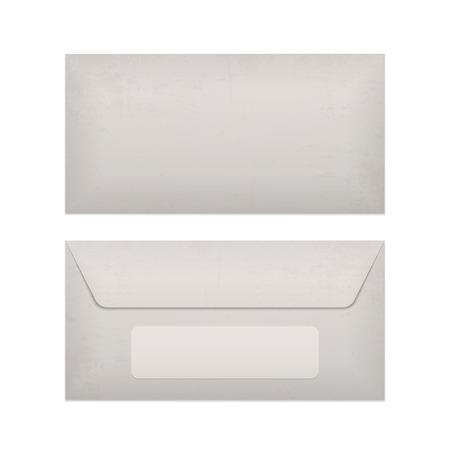 Sobre de papel maqueta realista aislado en el fondo blanco