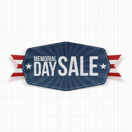 Día etiqueta de la venta nacional Memorial con la cinta y Shadow. Ilustración del vector Foto de archivo - 56891526