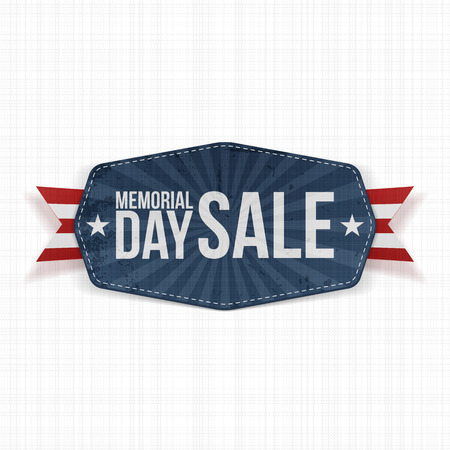 Memorial Day Sale national Label with Ribbon and Shadow. Vector Illustration