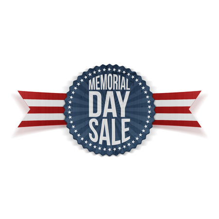 Memorial Day Sale patriotic Banner with Text and Shadow. Vector Illustration