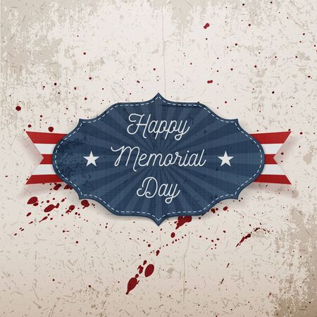 national hero: Happy Memorial Day greeting Label with Text and Shadow. Vector Illustration