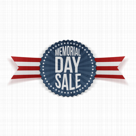 Memorial Day Sale greeting Banner with Text and Shadow. Vector Illustration