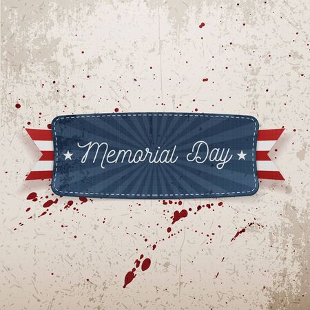 white day: Memorial Day festive Banner with Text and Shadow. Vector Illustration