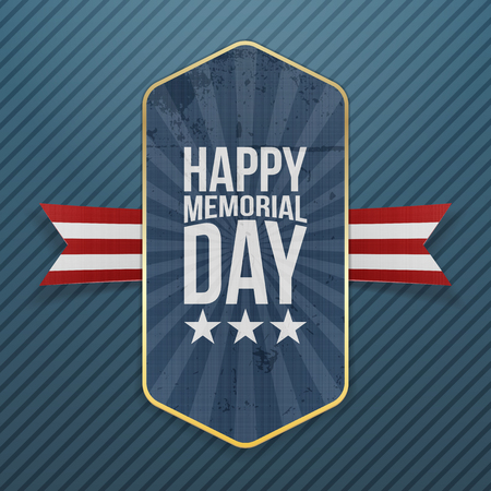white day: Happy Memorial Day patriotic Label and Ribbon. National American Holiday Background Template. Vector Illustration.