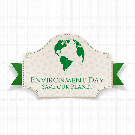 environmental awareness: World Environment Day awareness Badge and Ribbon. Ecology Background Template. Vector Illustration. Illustration