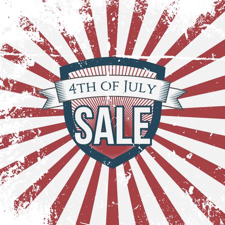 julio: Independencia cuarto día del mes de julio Venta escudo de vacaciones. Ilustración del vector Vectores