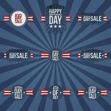 national holiday: 4th of July Independence Day Sale national Holiday Labels Collection. Vector Illustration