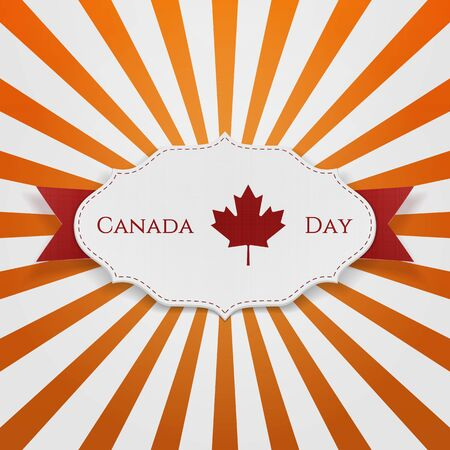 north american: Canada Day Sign on realistic Emblem. Vector Illustration