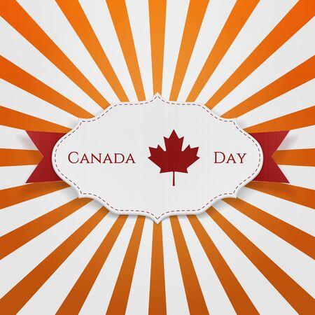 canadian maple leaf: Canada Day Sign on realistic Emblem. Vector Illustration